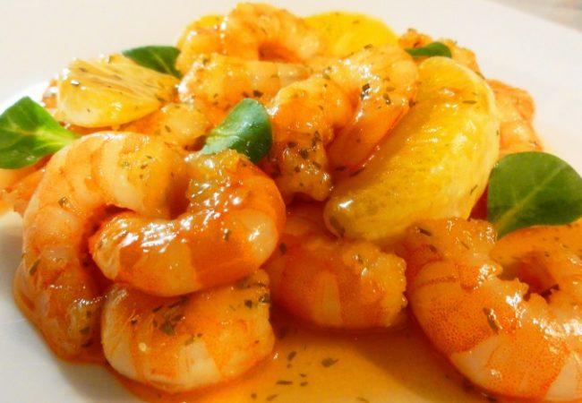 Crevettes caramélisées à l'orange
