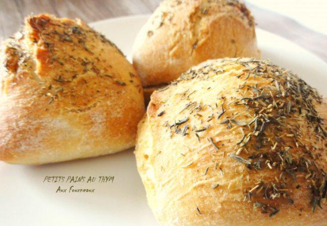 Petits pains au thym [sans pétrissage]