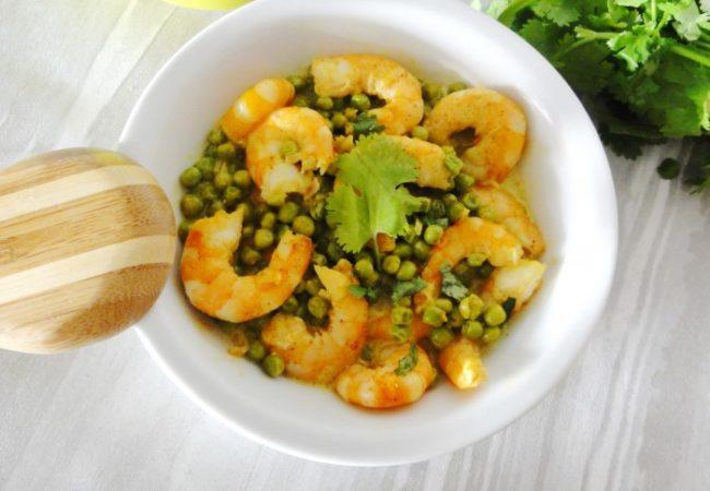 Curry de crevettes et petits pois