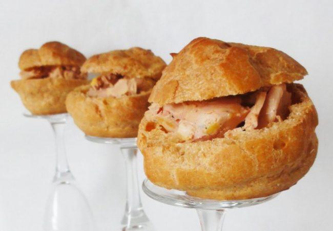 Petits choux au foie gras et pain d'épices