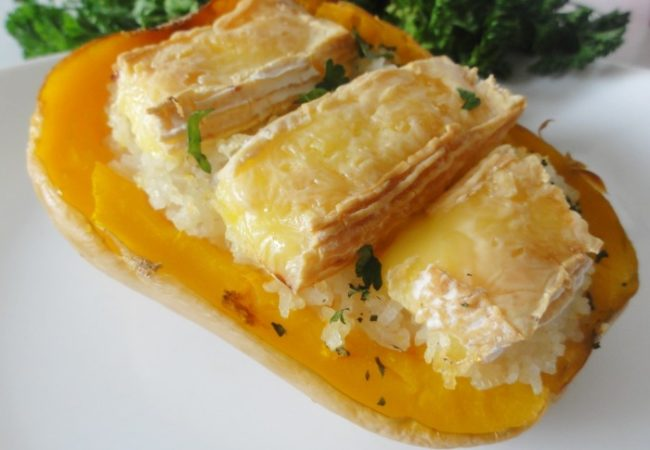 Courge butternut farcie au camembert
