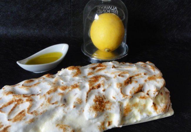 Bûche meringuée au citron et à l'huile d'olive
