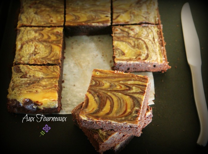 Brownie marbré cheesecake au caramel