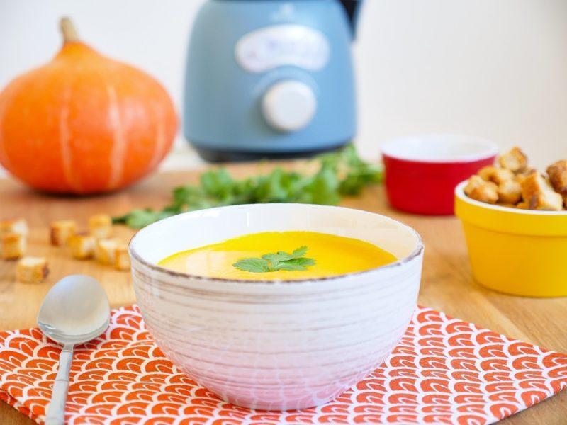 Soupe veloutée de potimarron aux châtaignes