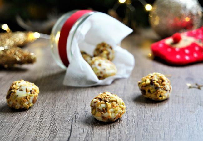Truffes au chocolat blanc – pistaches