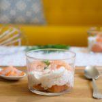 Verrine de mousse de saumon fumé crevettes