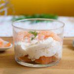 Verrine mousse de saumon fumé et crevettes