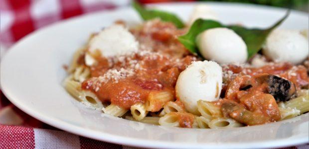 Pâtes aux aubergines et mozzarella de Jamie Oliver
