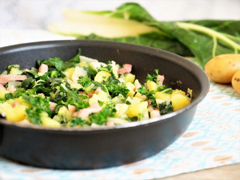 recette poêlee blettes pommes de terre lardons